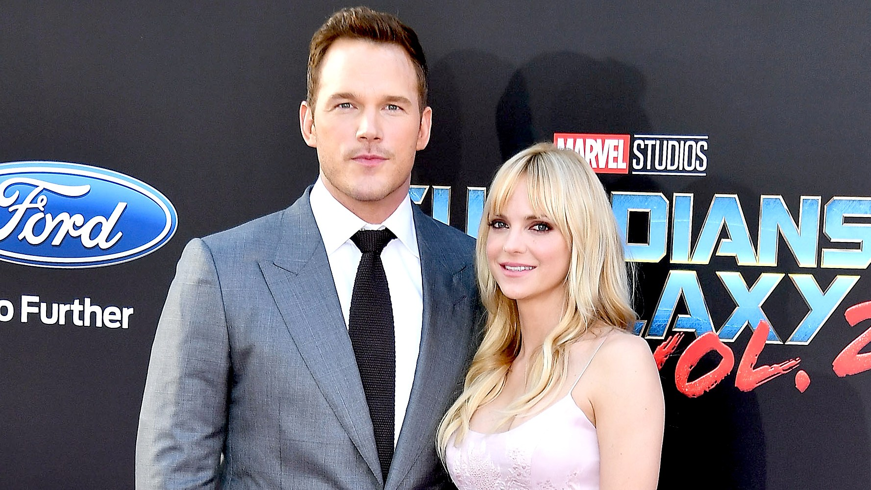 "Chris Pratt and Anna Faris arrives at the Premiere Of Disney And Marvel's ""Guardians Of The Galaxy Vol. 2"" at Dolby Theatre on April 19, 2017 in Hollywood, California."