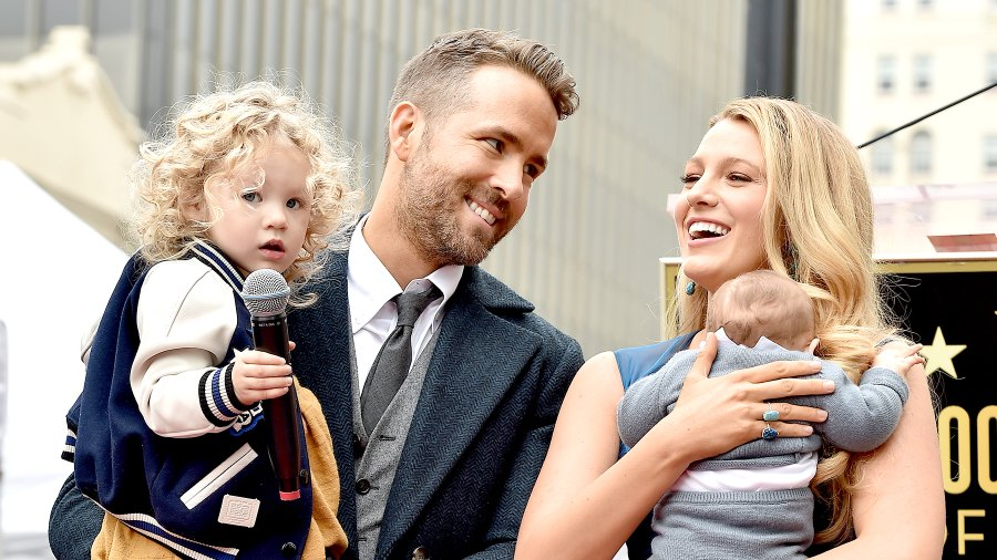 Ryan Reynolds and Blake Lively with daughters James Reynolds and Ines Reynolds attend the ceremony honoring Ryan Reynolds with a Star on the Hollywood Walk of Fame on December 15, 2016 in Hollywood, California.