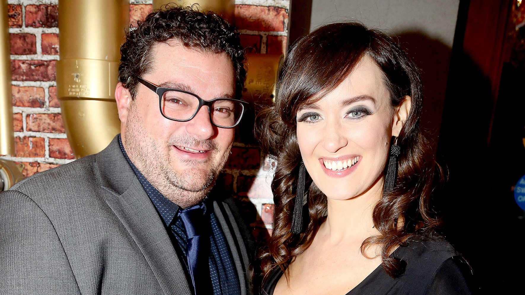 """Bobby Moynihan and Brynn O'Malley pose at the opening night of the new musical """"Charlie and The Chocolate Factory"""" on Broadway at The Lunt-Fontanne Theatre on April 23, 2017 in New York City."""