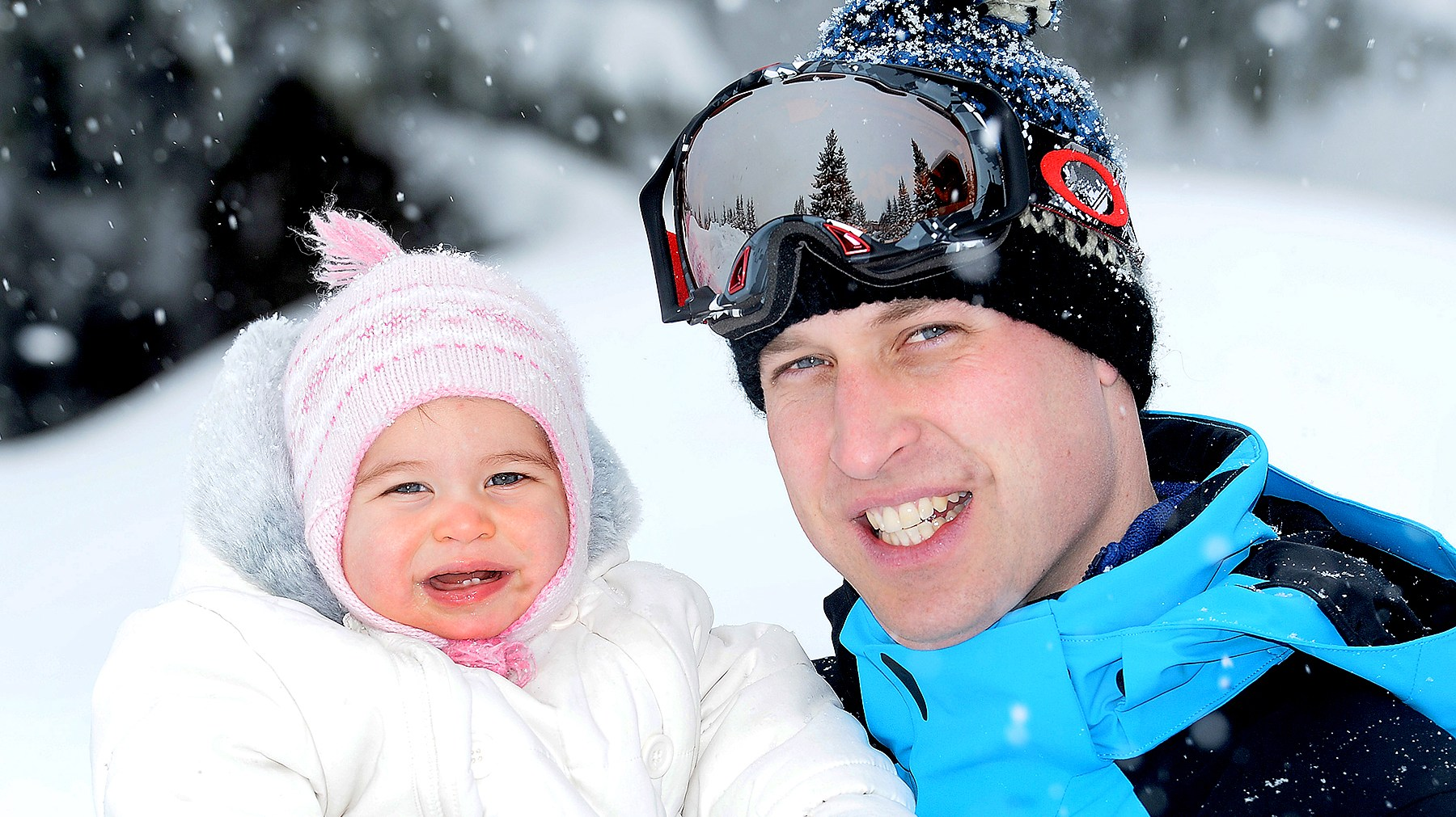 Princess Charlotte and Prince William enjoy a private skiing break on March 3, 2016 in the French Alps.