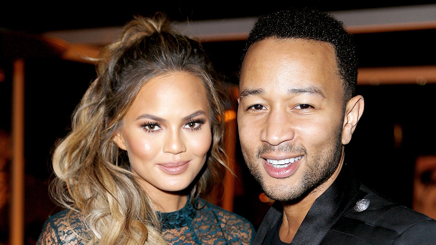 Chrissy Teigen and John Legend attend The Hollywood Reporter's Beauty Dinner at The London West Hollywood on November 11, 2015.