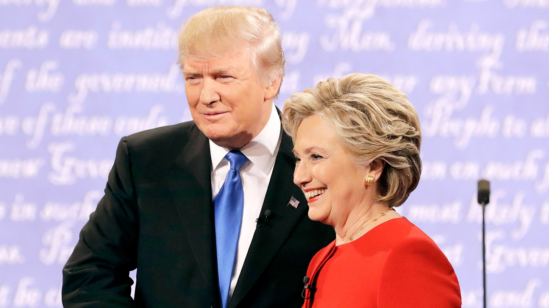 Republican presidential nominee Donald Trump shakes hands with Democratic presidential nominee Hillary Clinton during the presidential debate at Hofstra University in Hempstead, N.Y., Monday, Sept. 26, 2016.