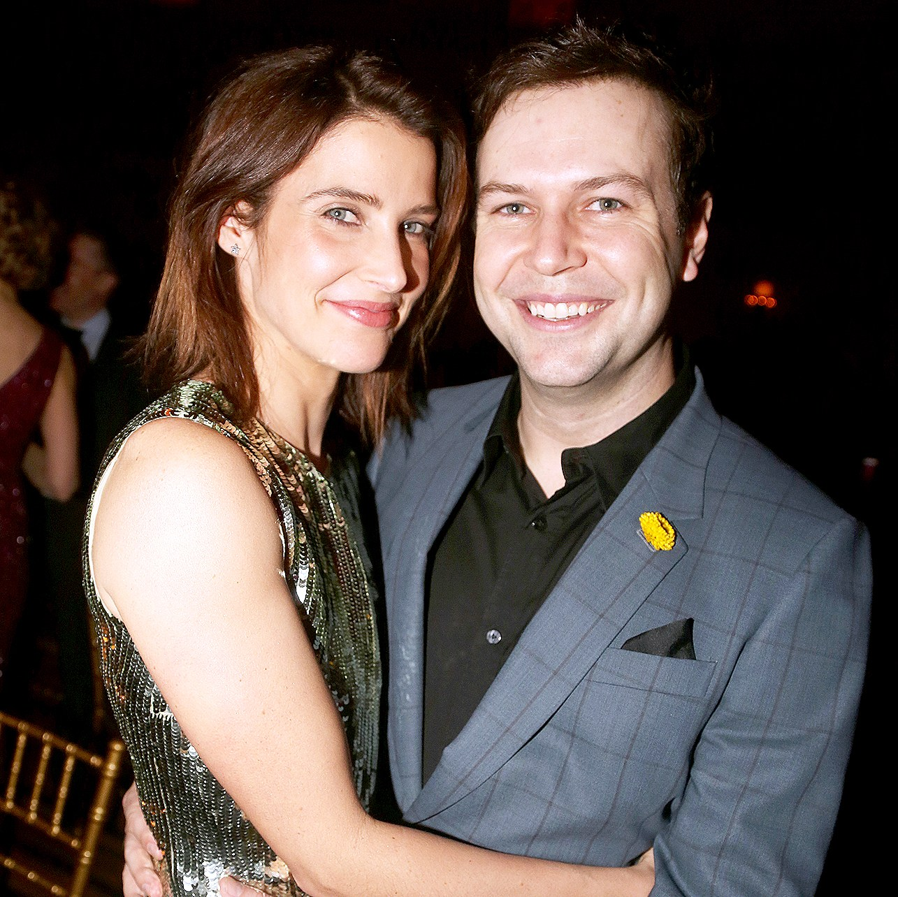 "Cobie Smulders and Taran Killam pose at the opening night after party for ""Present Laughter"" at Gotham Hall on April 5, 2017 in New York City."