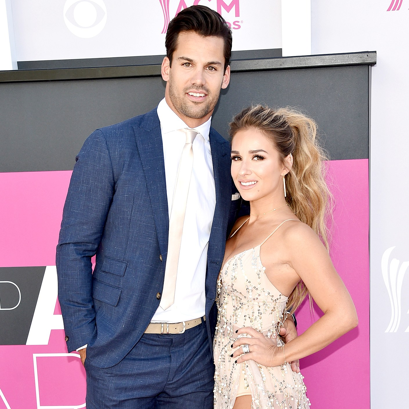 Eric Decker and Jessie James Decker attend the 52nd Academy Of Country Music Awards at Toshiba Plaza on April 2, 2017 in Las Vegas, Nevada.