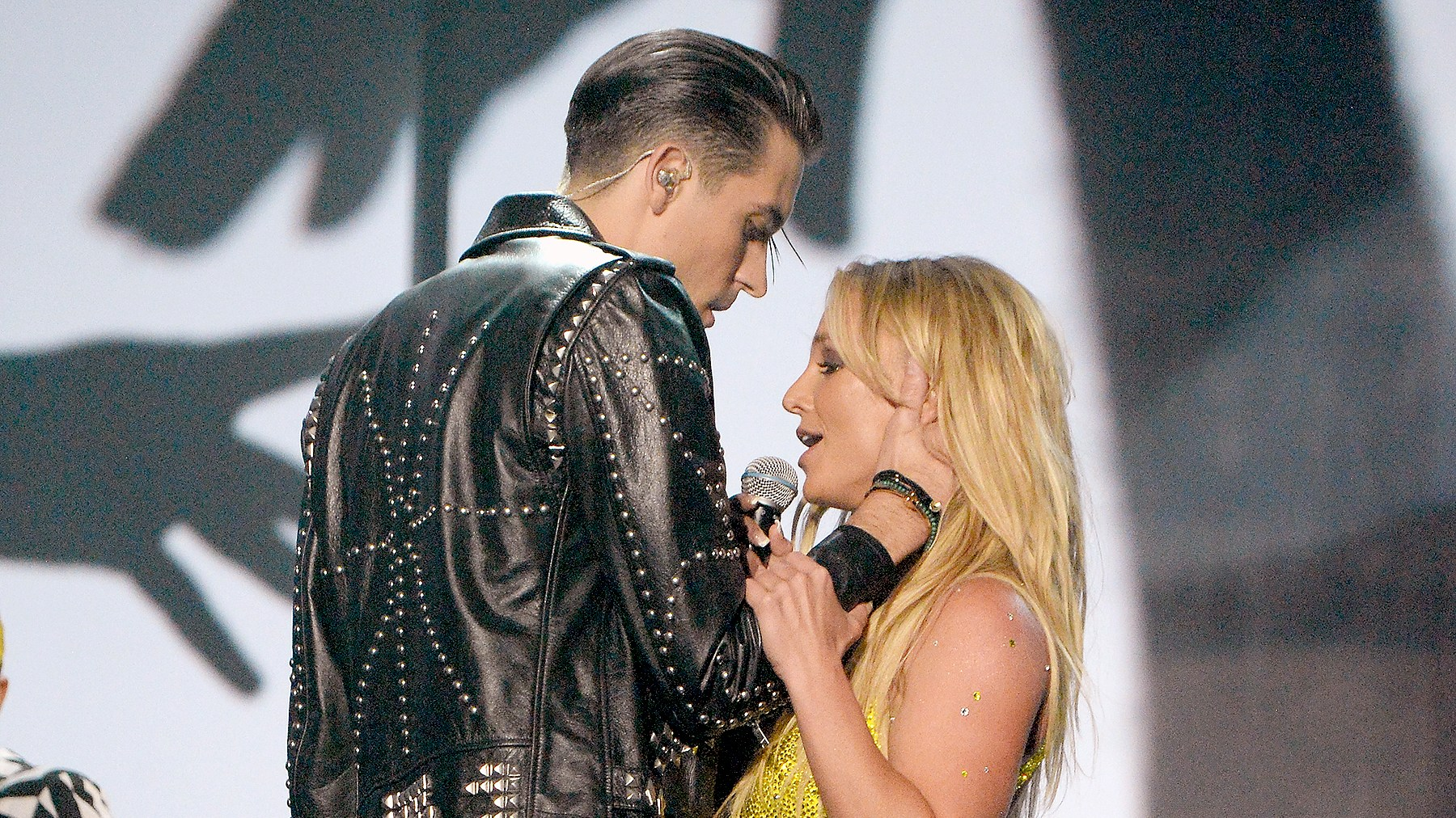 Britney Spears and G-Eazy perform onstage during the 2016 MTV Music Video Awards.