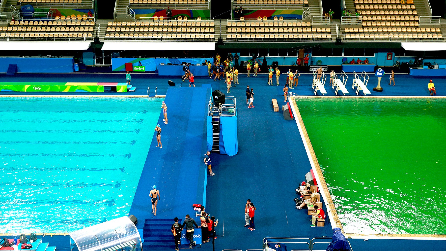 General view of the diving pool at Maria Lenk Aquatics Centre on Day 4 of the Rio 2016 Olympic Games at Maria Lenk Aquatics Centre on August 9, 2016 in Rio de Janeiro, Brazil.