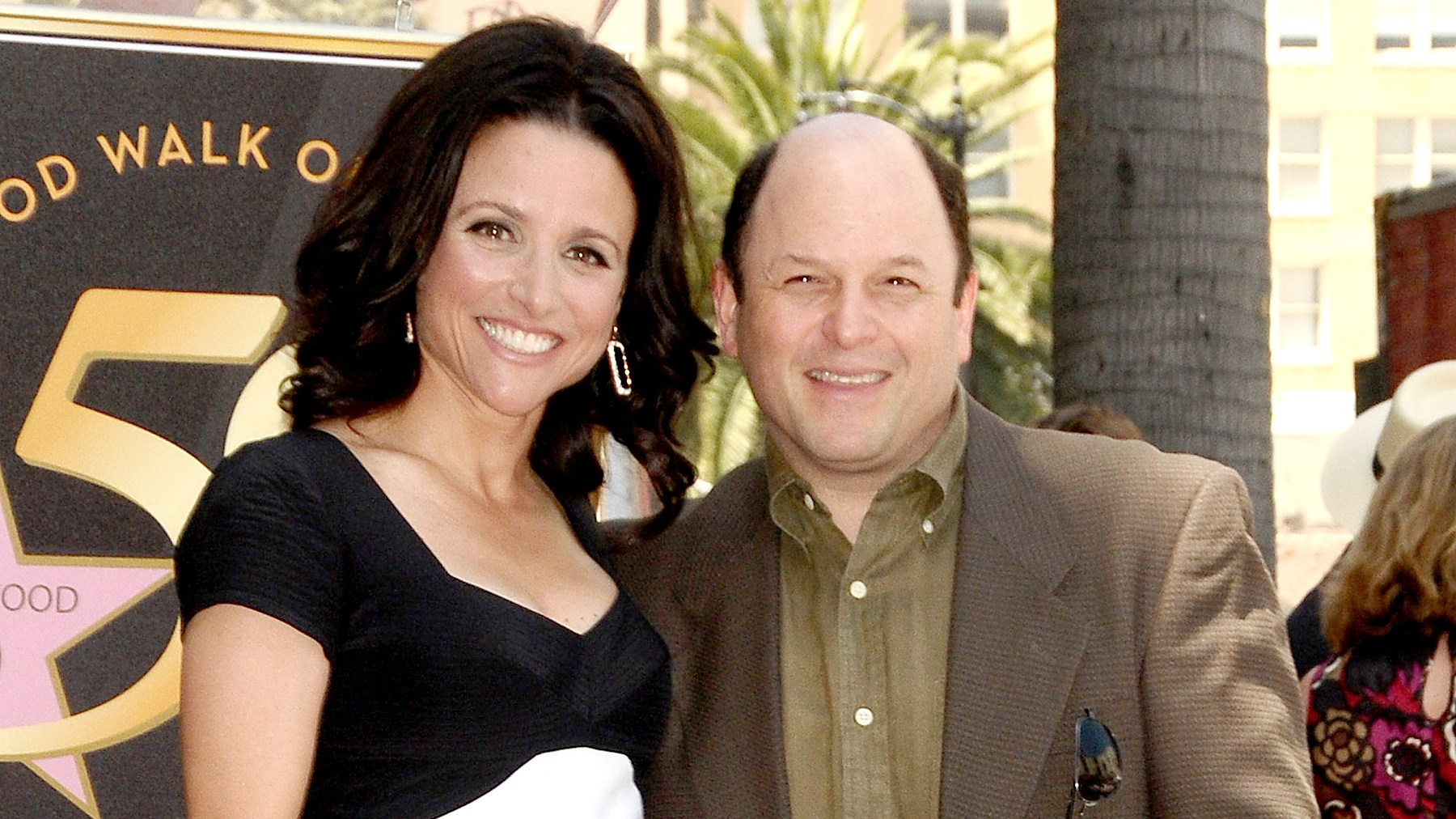 Julia Louis-Dreyfus and Jason Alexander attend Julia Louis-Dreyfus' induction into the Hollywood Walk of Fame on May 4, 2010 in Hollywood, California.