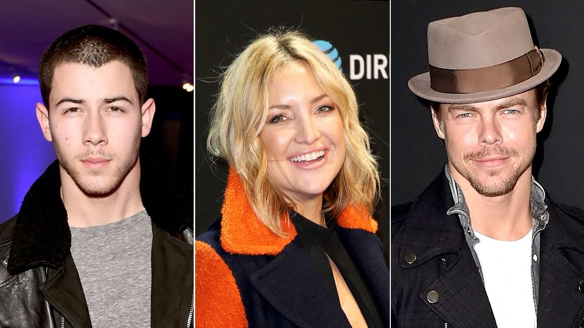 Nick Jonas, Kate Hudson, and Derek Hough