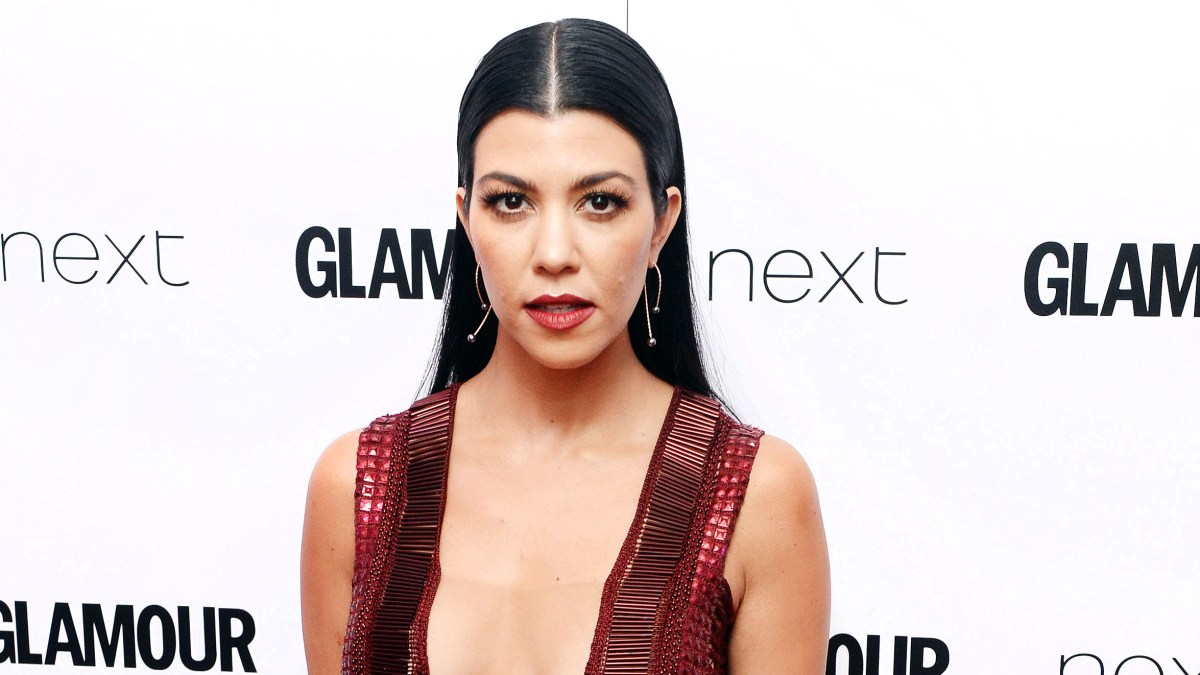 7271fc9179a3 Kourtney Kardashian Shows Cleavage in Plunging Dress: Video