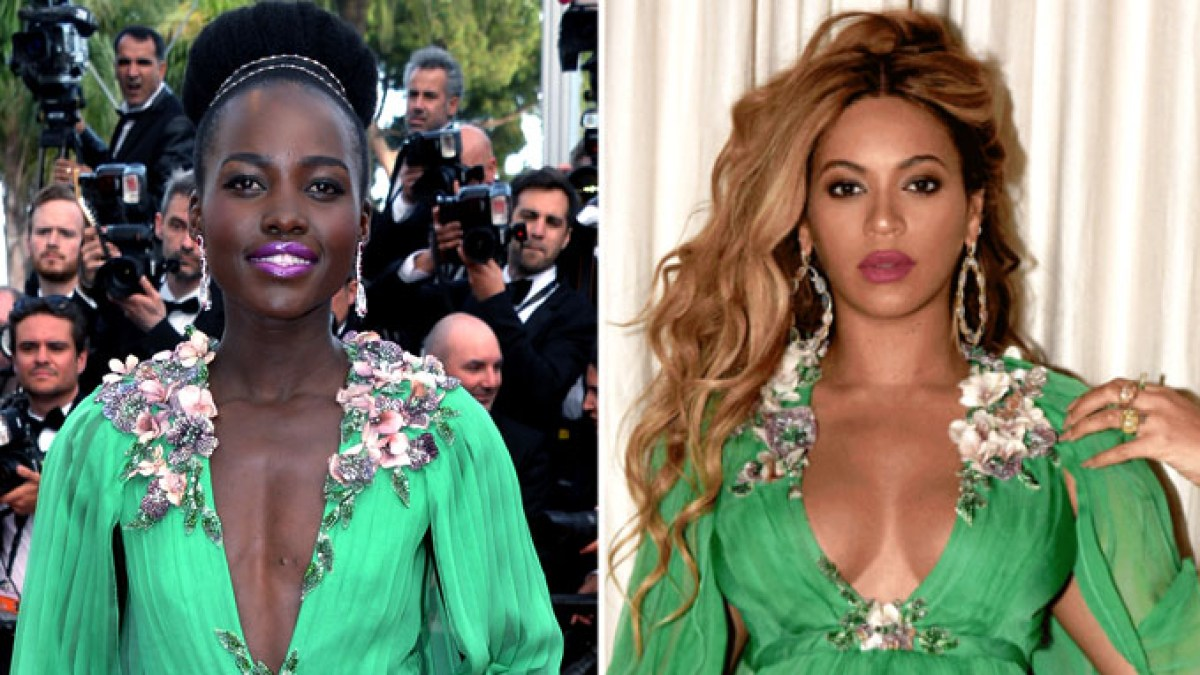 eda0564147b WWIB Face-Off  Beyonce Hits the Red Carpet in a Plunging Gucci Gown Lupita  Nyong o Wore Two Years Earlier