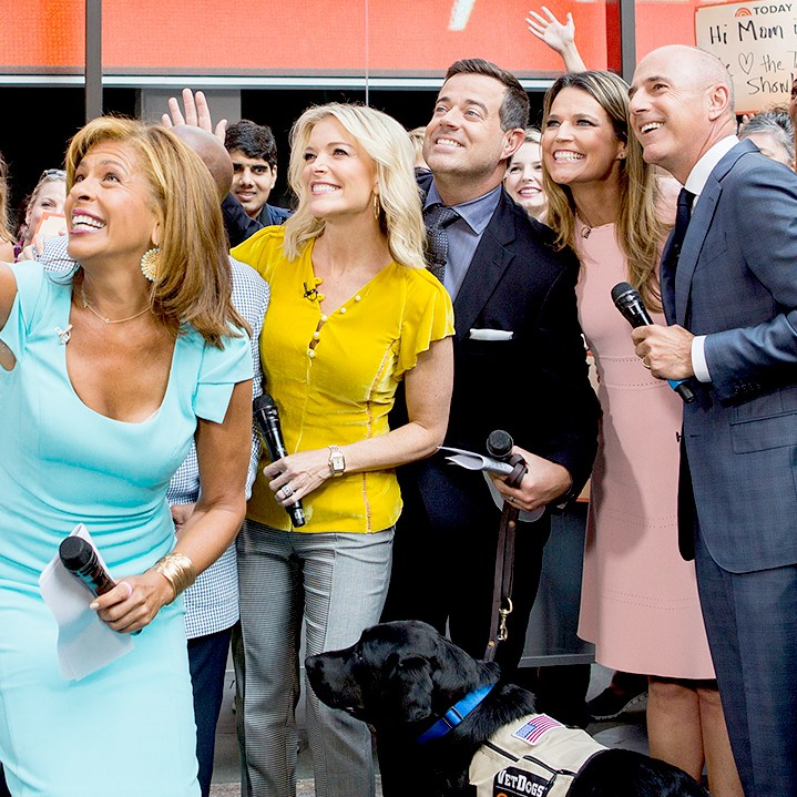 Hoda Kotb, Megyn Kelly, Carson Daly, Savannah Guthrie and Matt Lauer on 'Today' on September 5, 2017.