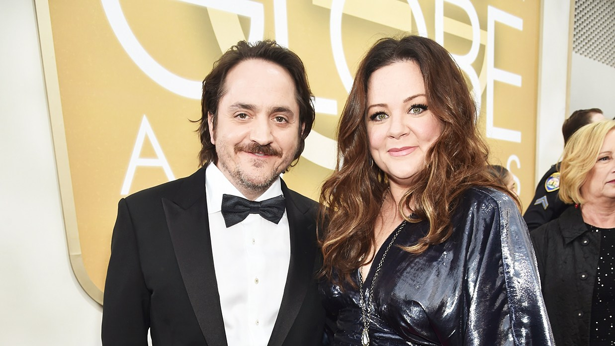 Ben Falcone and Melissa McCarthy at the Golden Globes 2016