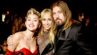 Miley Cyrus, Tish Cyrus and Billy Ray Cyrus attend the 2015 amfAR Inspiration Gala New York at Spring Studios on June 16, 2015 in New York City.