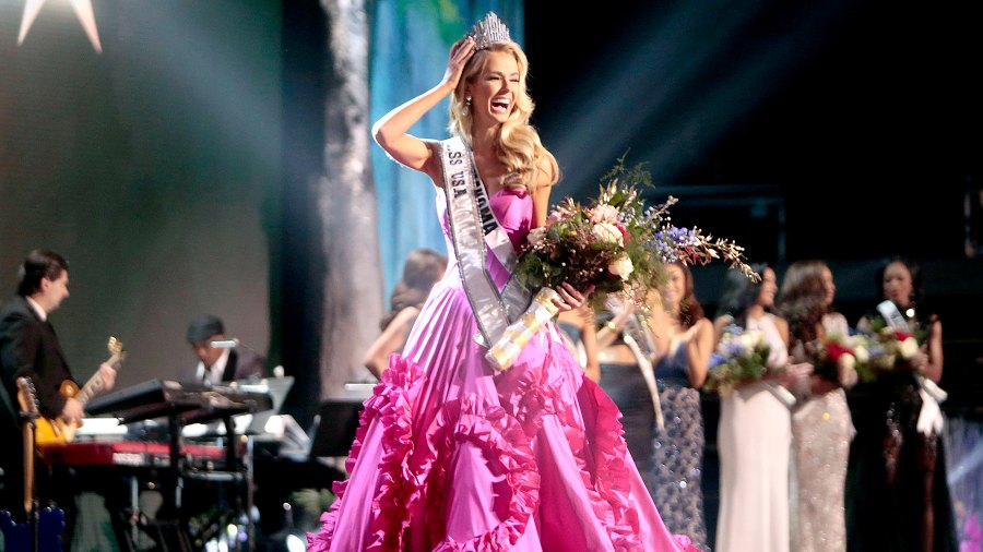Miss USA Olivia Jordan of Oklahoma is crowned on stage at the 2015 Miss USA Pageant.