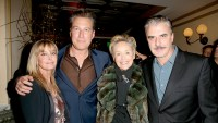 Chris Noth and John Corbett, along with Bo Derek and Sharon Stone, at a pre-Golden Globe celebration for the film Spotlight at Bouchon in Beverly Hills.