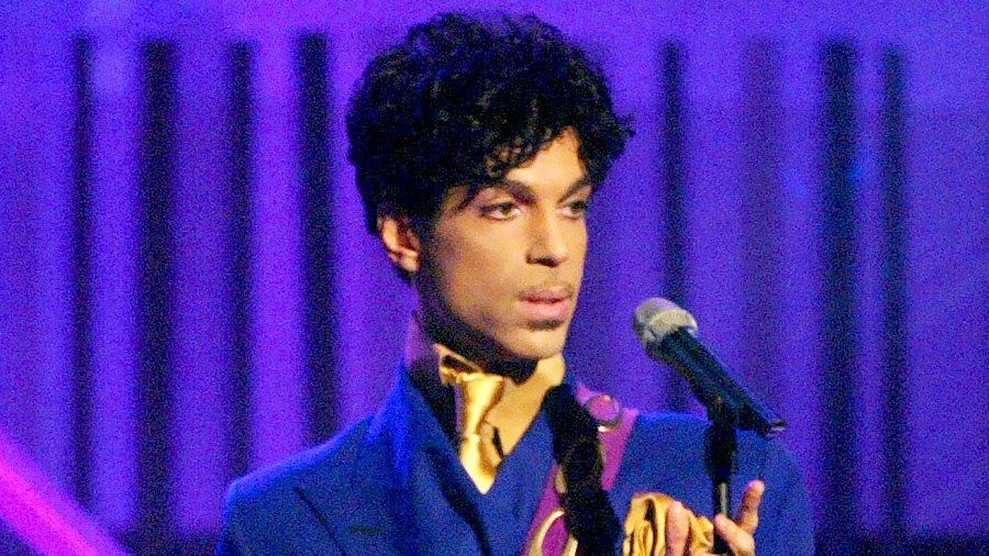 """Prince performs the song """"Purple Rain"""" at the 46th Annual Grammy Awards."""