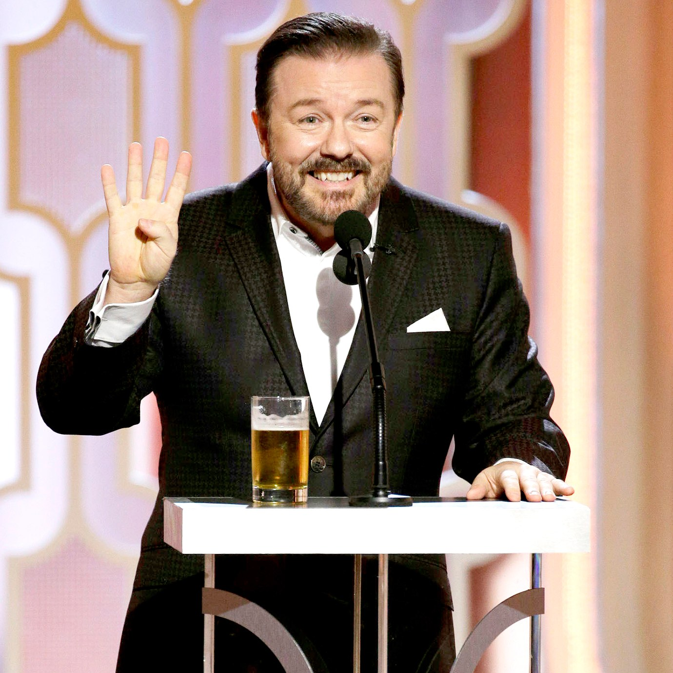 Ricky Gervais speaks onstage during the 73rd Annual Golden Globe Awards.