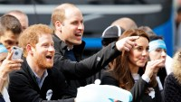 Prince Harry, Prince William, Duke of Cambridge and Catherine, Duchess of Cambridge cheer on runners talking part in the 2017 Virgin Money London Marathon on April 23, 2017 in London, England.