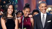 Sascha, Malia and Barack Obama
