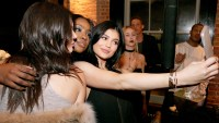 Kendall Jenner, Kylie Jenner and Justine Skye attends the Kendall & Kylie Jenner 2016 Spring Collection Launch.