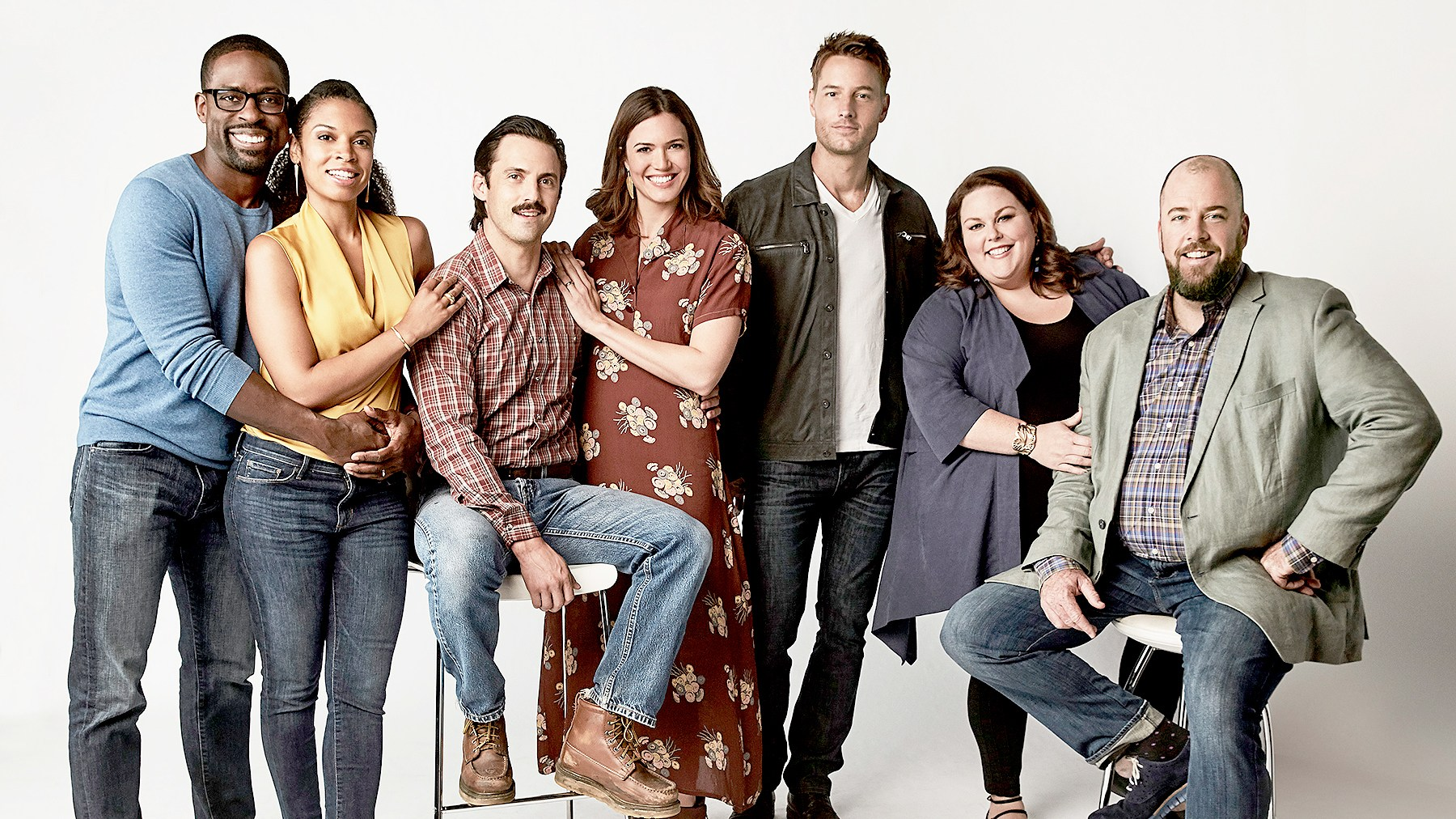 Sterling K Brown as Randall, Susan Kelechi Watson as Beth, Milo Ventimiglia as Jack, Mandy Moore as Rebecca, Justin Hartley as Kevin, Chrissy Metz as Kate, Chris Sullivan as Toby on This Is Us.