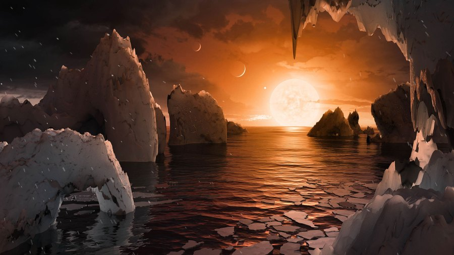 This artist's concept allows us to imagine what it would be like to stand on the surface of the exoplanet TRAPPIST-1f, located in the TRAPPIST-1 system in the constellation Aquarius.