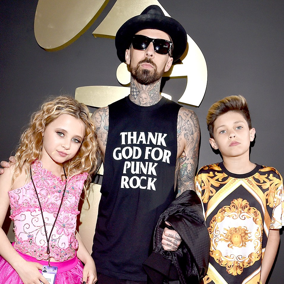 Alabama Barker, musician Travis Barker and Landon Barker attend The 58th GRAMMY Awards.