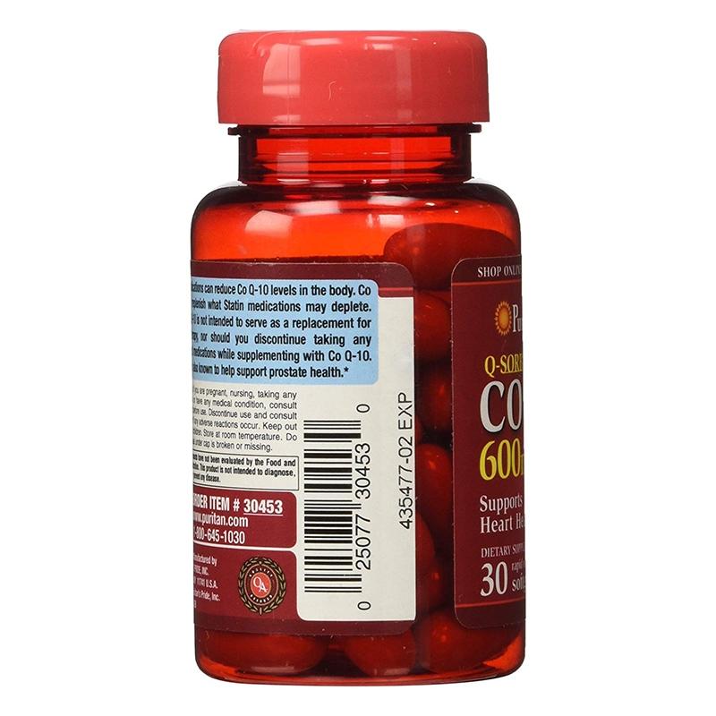 Puritan's Pride 普麗普萊 輔酶CoQ10軟膠囊 600mg 30粒 保護心臟