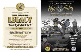 Tien Shan Pai Legacy Tournament 2017 poster - Tien Shan Pai and Tai Chi Tournament at  US Martial Arts Academy Ltd in Timonium, Maryland 21093.  and U.S. International Kuo Shu Championship Tournament at Hunt Valley , Maryland