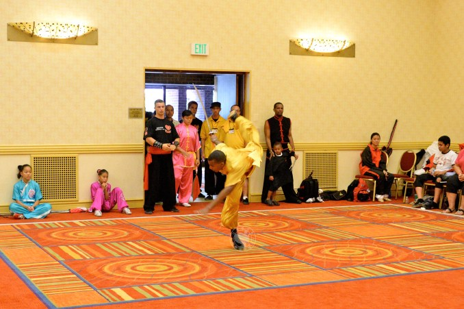 weapons form at the 2013 U.S. International Kuo Shu Championship Tournament in Hunt Valley, Md.