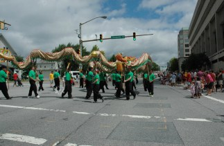 2013 07 04 US Martial Arts Academy, Ltd. instructors, students and family members at the 2013 Towson July 4th Parade