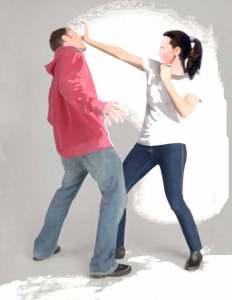 Woman defending herself - Self Defense Course at US Martial Arts Academy, Ltd. in Timonium, MD. 410-561-9882 www.usmaltd.com