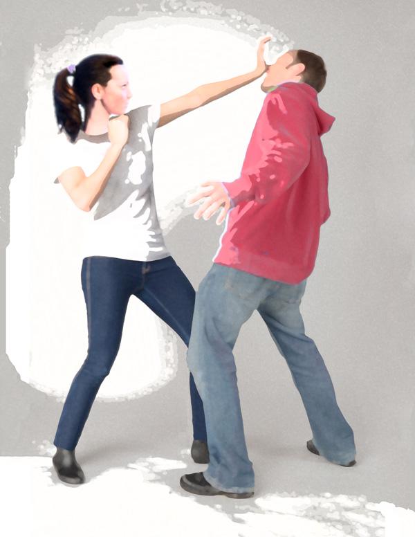 Woman Fighting Back in Self Defense