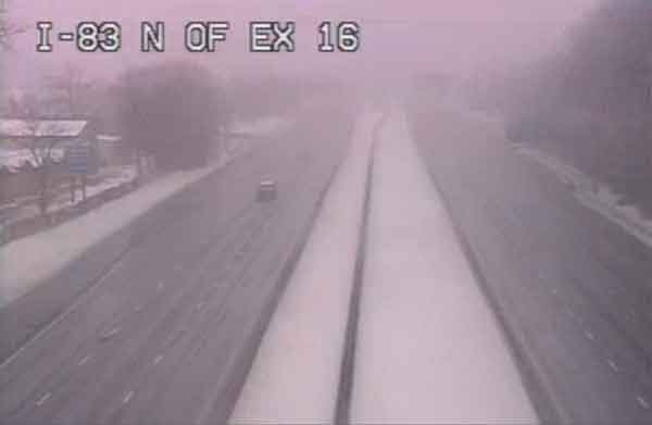 Traffic Webcam capture I 83 North at Exit 16 Timonium Road, near US Martial Arts Academy, Ltd