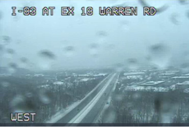 Weather camera view of I83 at exit 18 Warren Road at 10am 2021 02 01