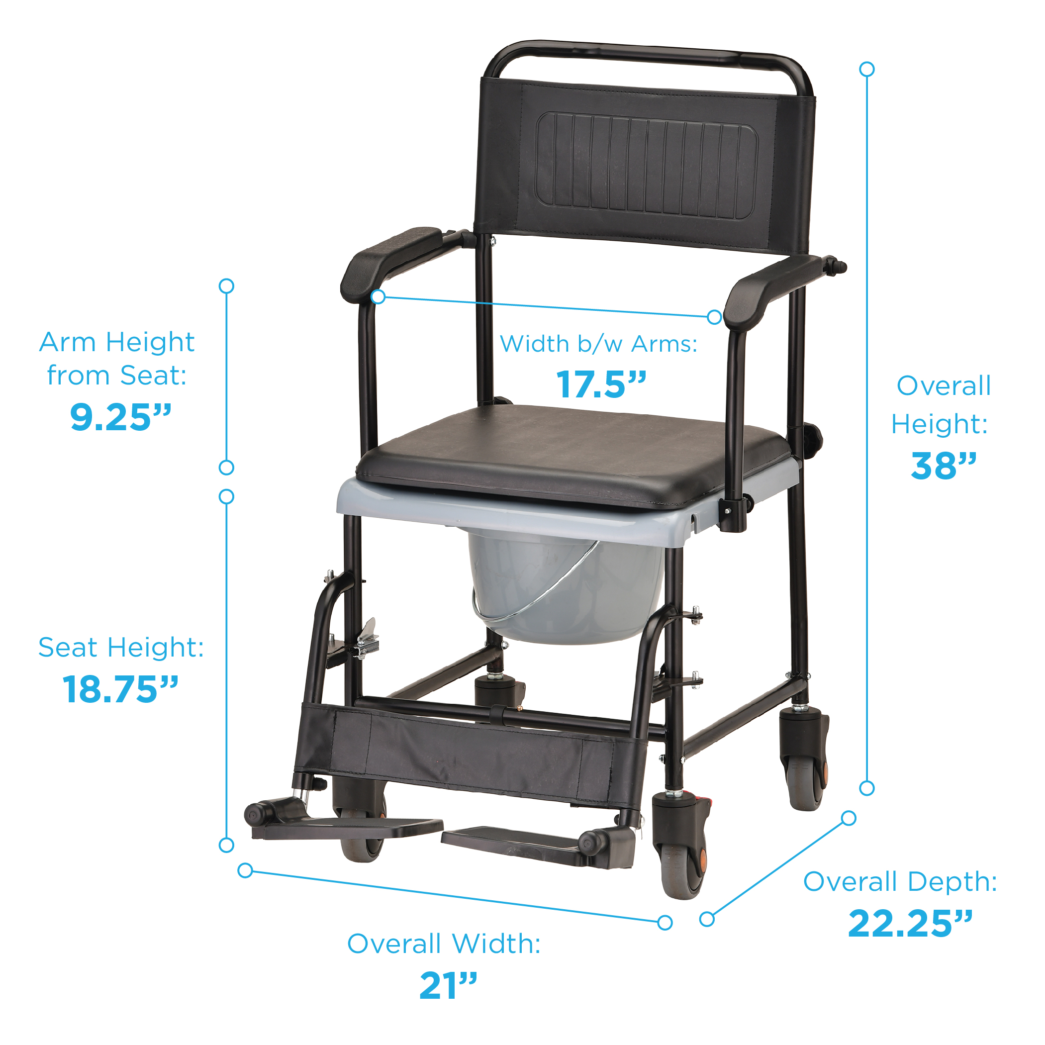 heavy duty commode chair desk swivel no wheels nova ortho-med drop arm transport with | shower wheelchairs