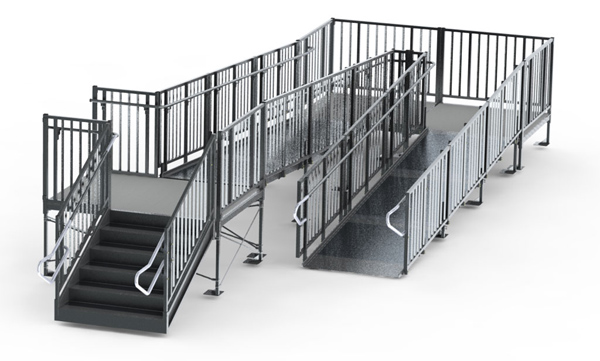 chair lifts for stairs with landings convertible high commercial modular ramp - wheelchair w/ turn back