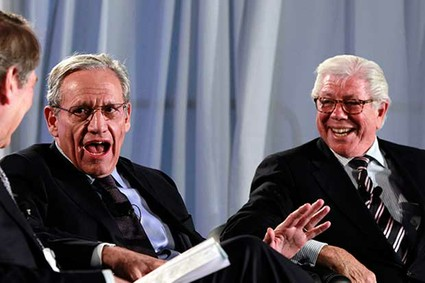 Former Washington Post reporters Bob Woodward and Carl Bernstein speak during an event to commemorate the 40th anniversary of Watergate.