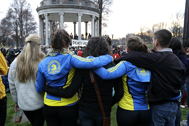 People congregate at Boston Common for a vigil for the victims of the Boston Marathon explosions.