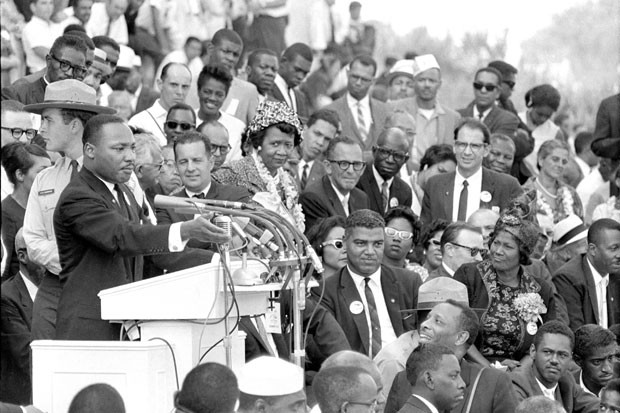 "The Rev. Dr. Martin Luther King Jr. gestures during his ""I Have a Dream"" speech at the March on Washington on Aug. 28, 1963. Some at the National Urban League conference have called for another such march in the wake of the Trayvon Martin verdict and the Supreme Court's decision on the Voting Rights Act."
