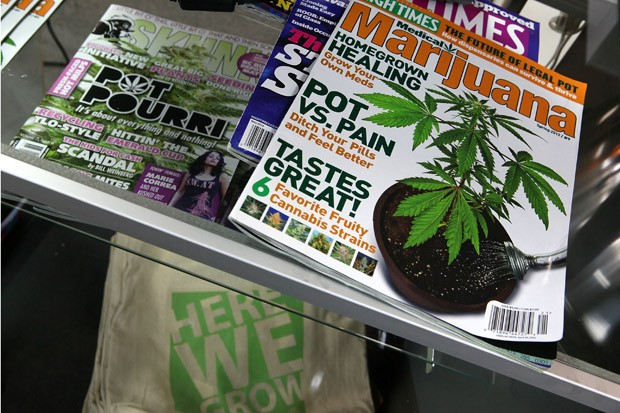 Magazines on marijuana are seen in the weGrow cultivation supply store on March 30, 2012, in Washington, D.C. Councilman David Grosso is proposing bills to legalize marijuana in D.C. and to seal the criminal records of all nonviolent marijuana cases.