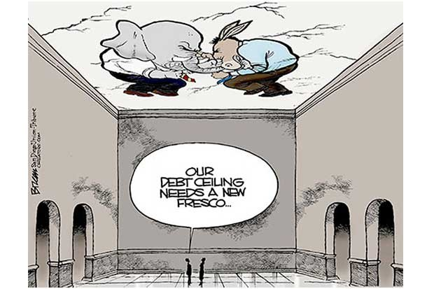 Editorial cartoon satirizing Congress' debt ceiling fight.