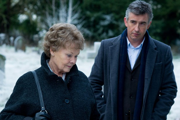 "Judi Dench plays Philomena and Steve Coogan plays Martin in ""Philomena."""