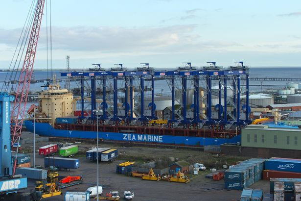 Six new giant container cranes arrive at Port of Immingham 1