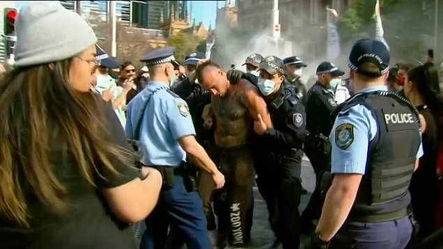 Manhunt launched after anti-lockdown protester punches police horse in Sydney 2