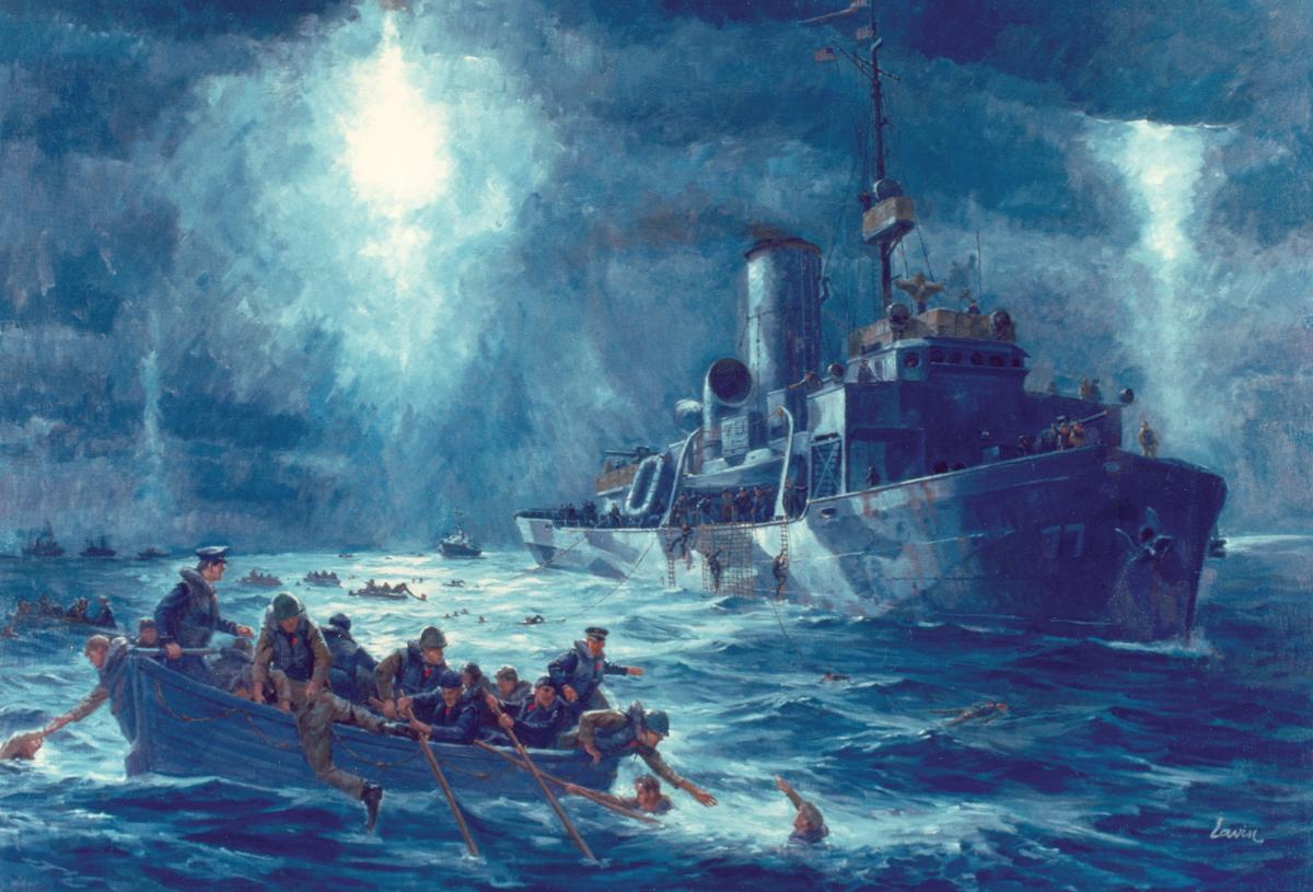 hight resolution of coast guardsmen from the cutter escanaba come to the rescue of the torpedoed transport dorchester s survivors