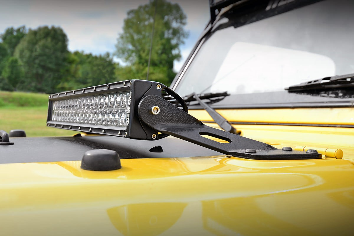 hight resolution of rough country jeep 20 inch led light bar hood mounts 97 06 wrangler tj