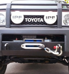 all the way from canada simon sends us pics of his fj bumper installation with a badlands 12 000lb winch nice job  [ 2302 x 1543 Pixel ]