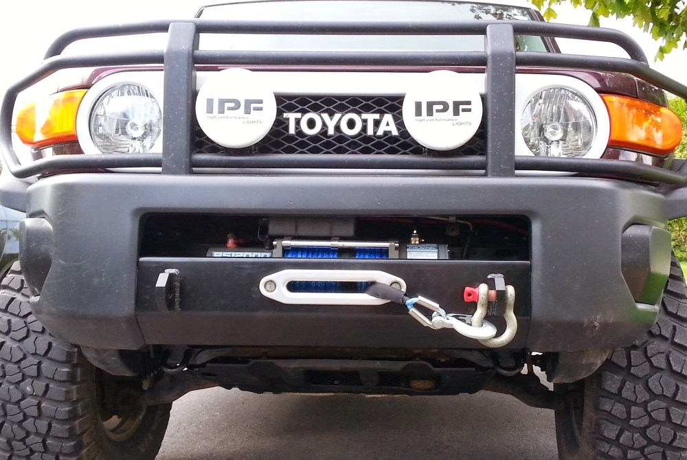 medium resolution of all the way from canada simon sends us pics of his fj bumper installation with a badlands 12 000lb winch nice job