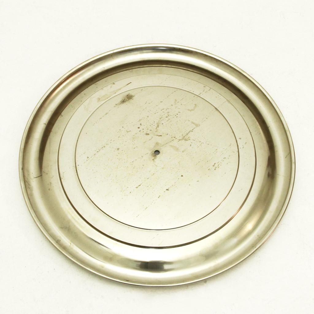 Specchio rotondo in metallo spazzolato anni 70  Uso Interno